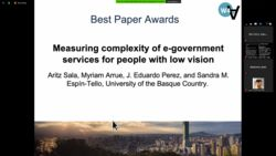 """Best Communication Paper Award"" al artículo presentado por Aritz Sala, Myriam Arrue, J. Eduardo Perez y Sandra M. Espín-Tello en el 17th International Web for All Conference: Automation for Accessibility"